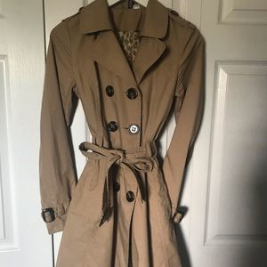 H&M tan beige flare trench coat 6 s